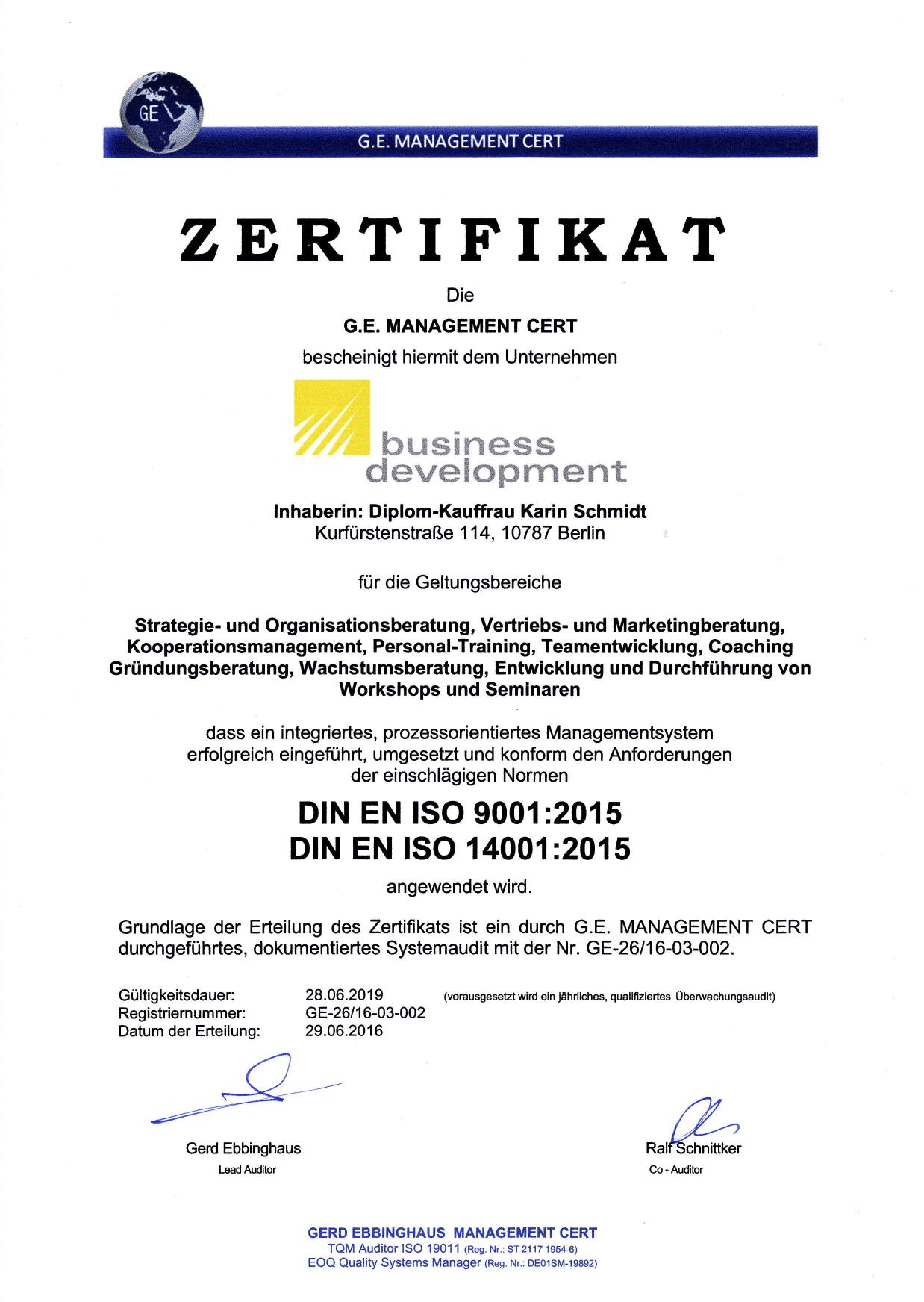 Zertifikat Umwelt- und Qualitätsmanagement business development